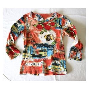 Vtg Red Paris Blouse